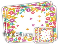 Multi Colored Flowers Table Mat